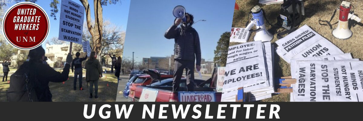"""""""UGW Newsletter"""" in bold white font along with images of union members protesting and the UGW logo."""